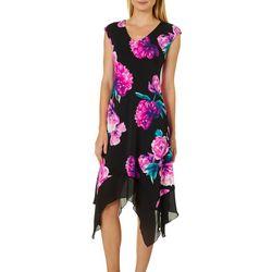 Luxology Womens Vibrant Floral Handkerchief Hem Dress