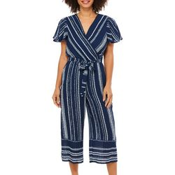 Luxology Womens Striped Faux Wrap Jumpsuit