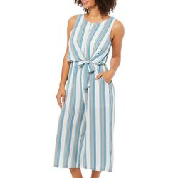 Luxology Womens Striped Tie Waist Jumpsuit