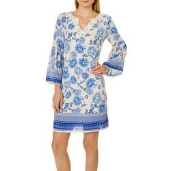 Luxology Womens Mixed Floral Crochet Shift Dress
