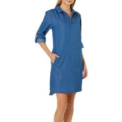 Luxology Womens Roll Tab Denim Shirtdress