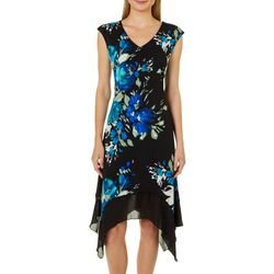 Luxology Womens Floral Print Handkerchief Hem Dress