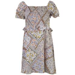 Womens Printed Off The Shoulder Dress