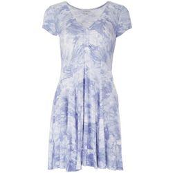 Luxology Womens Short Sleeve Tie Dye Dress