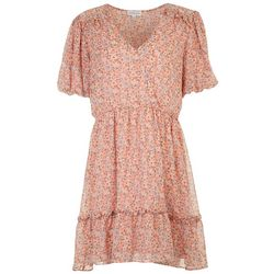 MSK Womens Flowy Floral Ruffled Hemline Dress