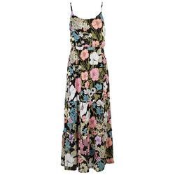 Womens Floral Ruffled Empire Dress