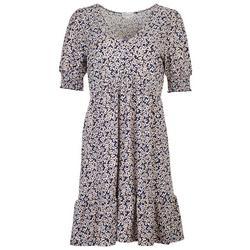 Womens V-neck Smocked Sleeves Dress