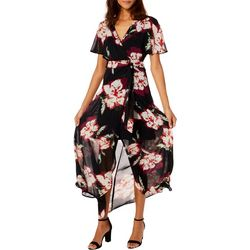 Luxology Womens Floral Print Chiffon Wrap Maxi Dress