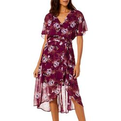 Luxology Womens Floral Print Chiffon Wrap Midi Dress