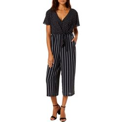 Luxology Womens Polka Dot Stripe Tie Front Jumpsuit