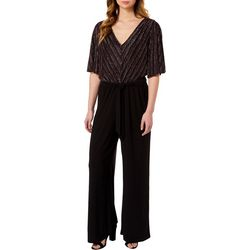 Luxology Womens Glitter V-Neck Tie Front Jumpsuit