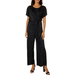 Luxology Womens Glitter Striped Tie Front Jumpsuit