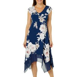 Luxology Womens Blooming Floral Handkerchief Hem Dress