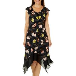 Luxology Womens Dotted Floral Handkerchief Hem Dress