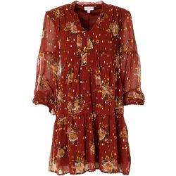 Luxology Womens Long Sleeve Tiered Floral Dress