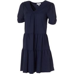 MSK Womens Smocked Neck Solid Tiered Dress