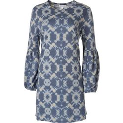 Luxology Womens Long Sleeve Knit Printed Dress