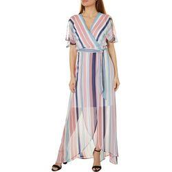 Luxology Womens Short Sleeve Stripe Faux Wrap Dress