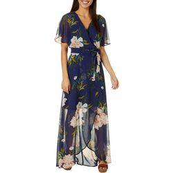 Luxology Womens Chiffon Floral Print High Low Wrap Dress
