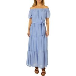 Womens Solid Off The Shoulder Tiered Maxi Dress