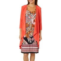 R & M Richards Womens 2-pc. Cardigan & Mixed Paisley Dress