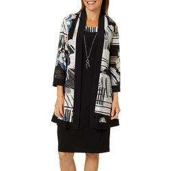 R & M Richards Womens 2-pc. Abstract Floral Jacket Dress