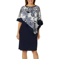 R & M Richards Womens Floral Puff Print Overlay Shift Dress