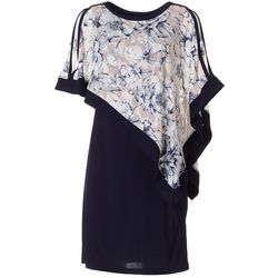 Womens Floral Popover Shift Dress