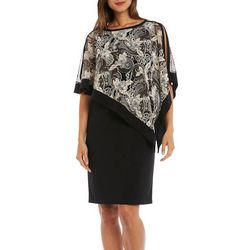 R & M Richards Womens Floral Lily Popover Shift Dress