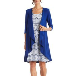 R & M Richards Womens 2-pc. Tile Puff Print Jacket & Dress