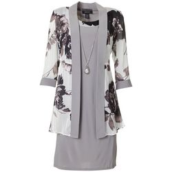 R & M Richards Womens 2-pc. Floral Sheer Jacket & Dress