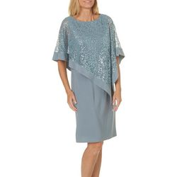 R & M Richards Womens Sequin Poncho Shift Dress