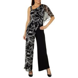 R & M Richards Womens One Shoulder Mesh Overlay Jumpsuit