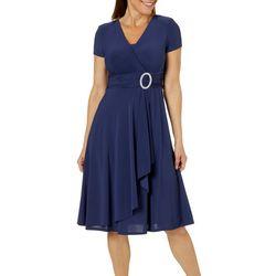 R & M Richards Womens Embellished Faux-Wrap Dress