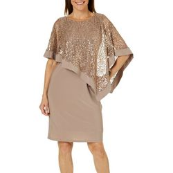 R & M Richards Womens Embellished Lace Overlay Shift Dress