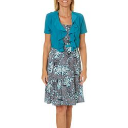 R & M Richards Womens 2-pc. Floral Puff Print Dress Set