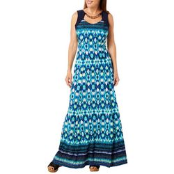 R & M Richards Womens Ikat Print Neck Cutout Maxi Dress