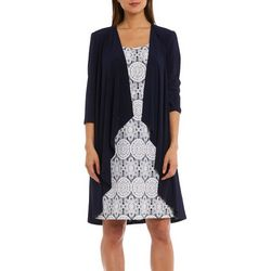 R & M Richards Womens 2-pc. Cardigan & Geo Puff Print Dress
