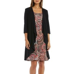 R & M Richards Womens 2-pc. Cardigan & Boho Puff Print Dress