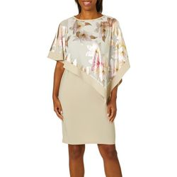 Womens Shimmer Floral Overlay Shift Dress