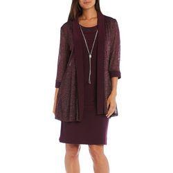 R & M Richards Womens 3-pc. Necklace & Shimmery Jacket Dress