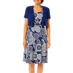 R & M Richards Womens 2-pc. Jacket & Medallion Print Dress