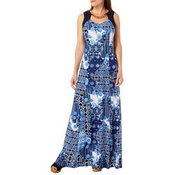 R & M Richards Womens Tribal Print Neck Cutout Maxi Dress