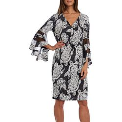 R & M Richards Womens Paisley Sheer Bell Sleeve Dress