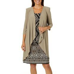 R & M Richards Womens 3-pc. Cardigan & Geo Puff Print Dress