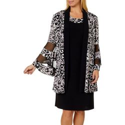 R & M Richards Womens 2-pc. Floral Puff Print Jacket & Dress