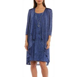 R & M Richards Womens 3-pc. Cardigan & Striped Print Dress