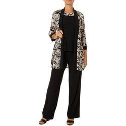 R & M Richards Womens Floral Print Pantsuit Set