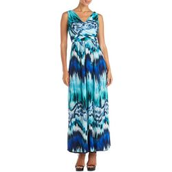 R & M Richards Womens Tie-Dye Criss-Cross Maxi Dress