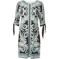 Sandra Darren Womens Textured Paisley Print Dress